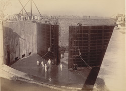 80-feet entrance looking north-east. Works complete [Victoria Dock construction, Bombay].